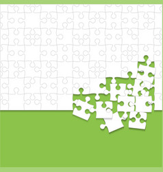 some white puzzles pieces green - jigsaw vector image
