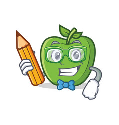 Student with pencil green apple character cartoon vector