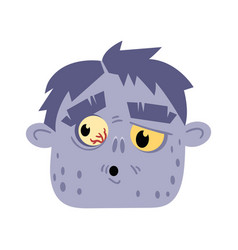 Undead monster head avatar in cartoon style vector