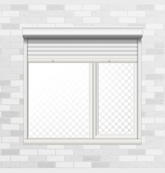 Window with rolling shutters brick wall vector