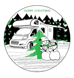 Winter camper with family snowman vector