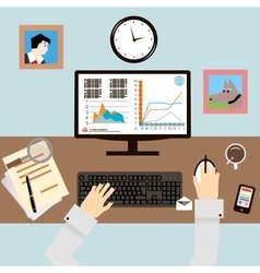 Workplace with hands and infographic in flat vector