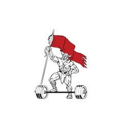 Viking warrior barbell waving flag retro vector