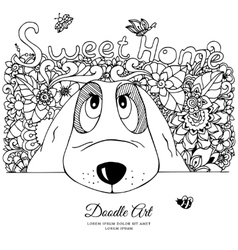 dog and flowers Doodle vector image