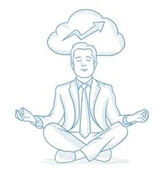 Peaceful businessman meditating vector
