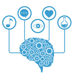 Brain human gear learning icons vector