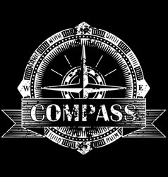 Drawing of a compass on a black background vector