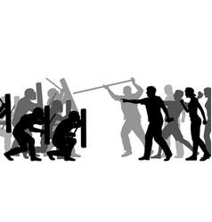 riot police under attack vector image