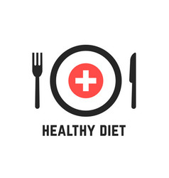 Healthy diet with tablewares vector