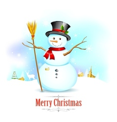 Snowman with broom in christmas background vector