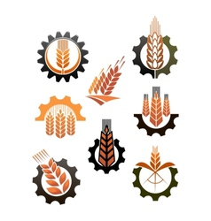 Set of icons depicting industry and agriculture vector
