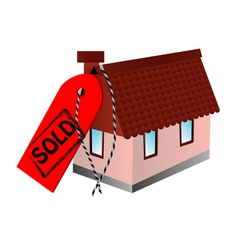 Sold sign and home vector