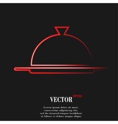 Restaurant cloche flat modern web button and space vector