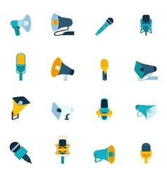 Microphone and megaphone icons flat vector
