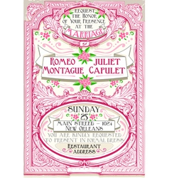 Pink floral vintage wedding invite vector