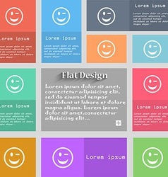 Winking face icon sign set of multicolored buttons vector