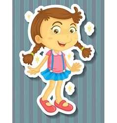 Little girl in new dress vector