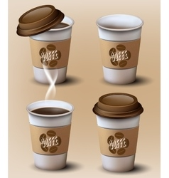 Set of paper cupsdifferent position vector