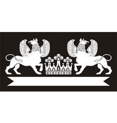 Royal monogram with griffins and crown vector