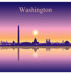 Washington city skyline silhouette background vector