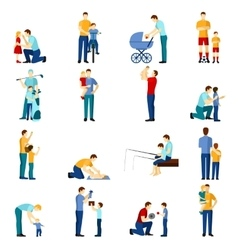 Fatherhood icons set vector