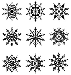 Black flat lacy snowflakes icons isolated on white vector