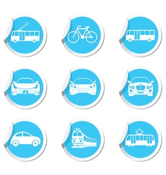 Set of 9 transport blue label vector