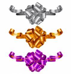 Three color decorative bows vector