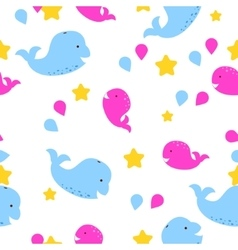 Whale kid seamless pattern for textile vector