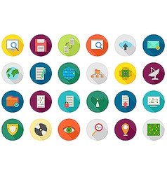 It technology rouns icons set vector