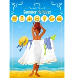 Summer travel beach background with beautiful tan vector