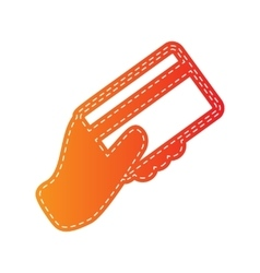 Hand holding a credit card orange applique vector