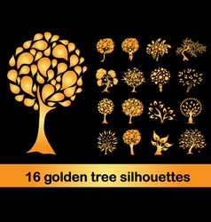 16 golden tree silhouettes vector