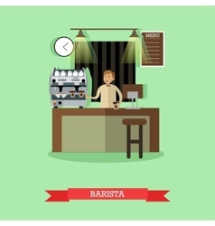 Barista making coffee in vector