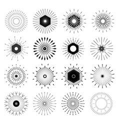 Big set of retro sun burst shapes vintage logo vector