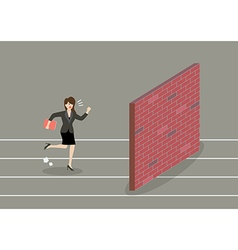 Business woman race to dead end vector