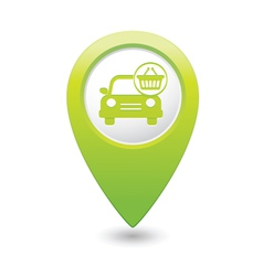 car with shop basket icon pointer green vector image vector image