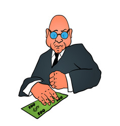 cartoon business man in a suit with money vector image