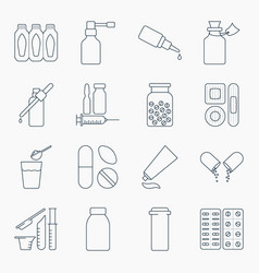 Collection of outline medical bottles icons vector