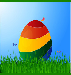 Curved striped easter egg on grass over blue sky vector