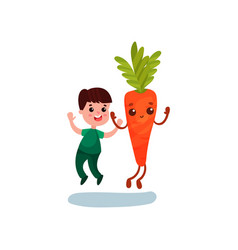 cute little boy jumping with happy giant carrot vector image vector image