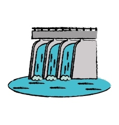 Drawn hydroelectric station plant water dam vector