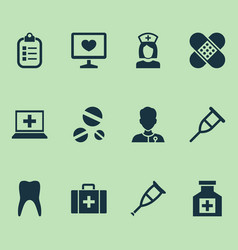 Drug icons set collection of dental healer vector