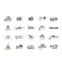 eid mubarak badge design sticker stamp - vector image