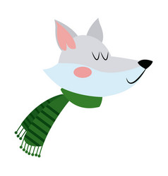 face fox with a scarf christmas animal vector image vector image