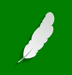 Feather sign paper whitish vector