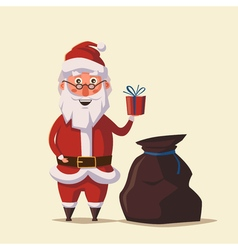 Funny santa claus holding gift in hand cartoon vector