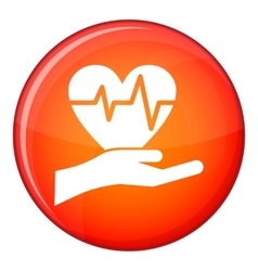 Hand holding heart with ecg line icon flat style vector