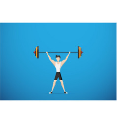 Healthy man lifting weights health concept vector