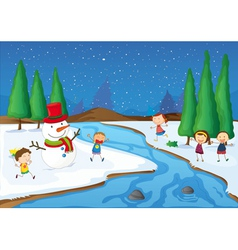 kids and a snowman vector image